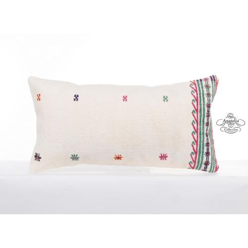 "Modern White Pillow Cottage Pillowcase 12x24"" Turkish Lumbar Kilim Cushion Cover"