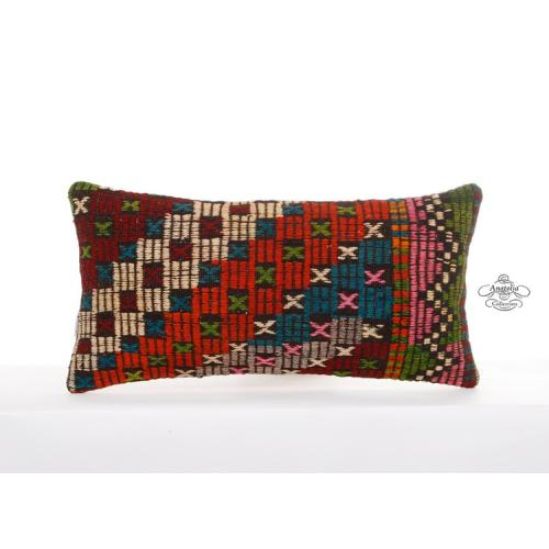 "Rustic Decoration Pillow 12x24"" Turkish Kilim Rug Cushion Embroidered Pillowcase"