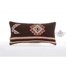"Rustic Embroidered Pillow Cover 12x24"" Lumbar Cushion Turkish Kilim Pillowcase"