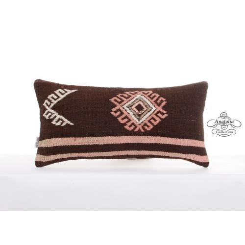 "Rustic Embroidered Pillow Cover 12x24"" Lumbar Cushion Turkish Kilim Pillowcase"