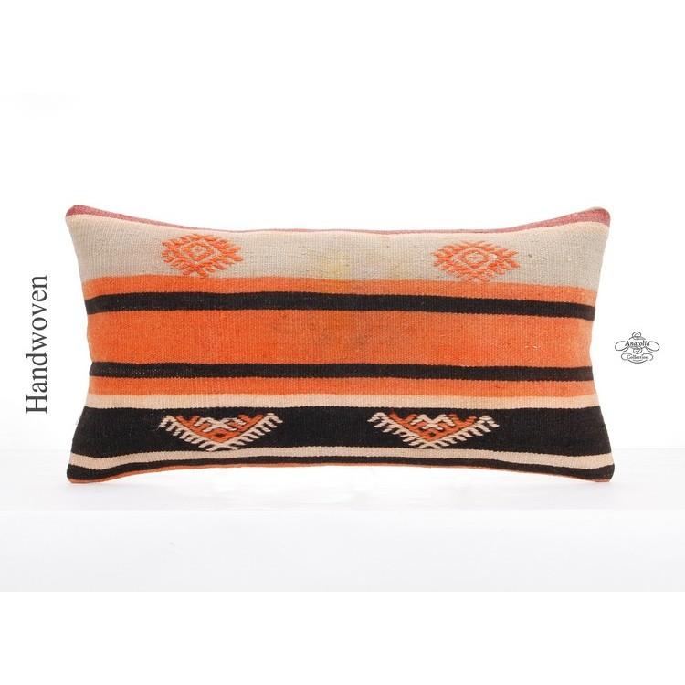 Cottage Chic Lumbar Pillow Turkish Handmade Kilim Pillowcase