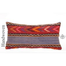 "Embroidered Kilim Throw Pillow 12x24"" Vintage Lumbar Cushion Cover"