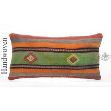 Old Hand Woven Kilim Pillow 12x24 Vintage Lumbar Turkish Cushion Cover
