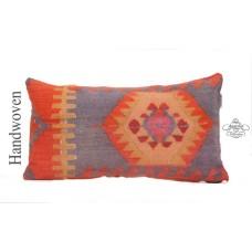 Oriental Lumbar Kilim Pillowcase 12x24 Turkish Hand Woven Pillow Cover