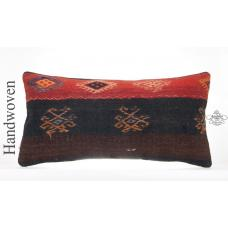 "Antique Embroidered Lumbar Kilim Pillow 12x24"" Turkish Vintage Cushion Cover"