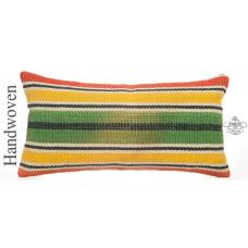 "Colorful Lumbar Kilim Pillow 12x24"" Striped Turkish Vintage Cushion"