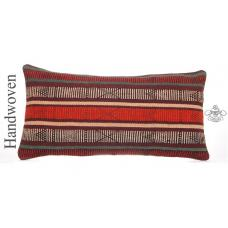 "Retro Lumbar Kilim Pillow 12x24"" Aztec Style Turkish Handmade Cushion Cover"
