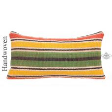 "Striped Lumbar Kilim Pillow Cover 12x24"" Colorful Ethnic Turkish Cushion Throw"