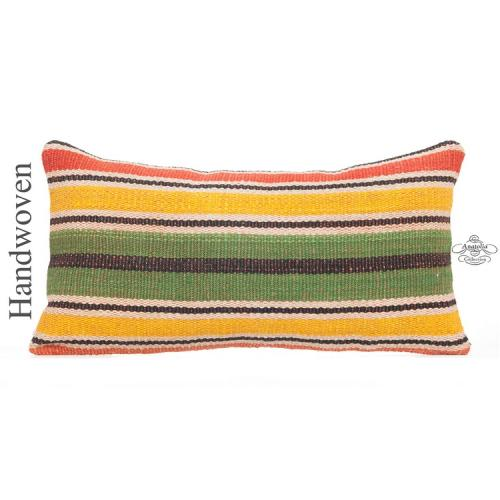 "Striped Lumbar Kilim Pillow Cover 12x24"" Colorful Ethnic Turkish Cushion Throw"