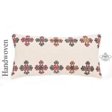 "Vintage Embroidered Kilim Pillow 12x24"" White Cottage Decor Lumbar Cushion Cover"