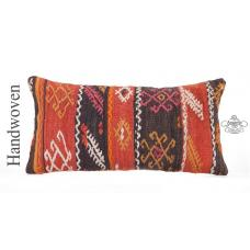 "Vintage Lumbar Kilim Pillow Cover 12x24"" Embroidered Ethnic Sofa Throw Cushion"