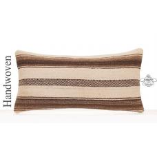 "Decorative Lumbar Pillow Natural 12x24"" White Striped Kilim Cushion"