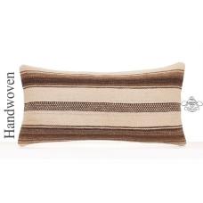 "Decorative Lumbar Pillow Natural 12x24"" White Striped Kilim Cushion"