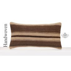 Ethnic Striped Kilim Throw Pillow 12x24 Natural Turkish Cushion Cover