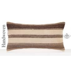 "Natural Cottage Decor Accent Lumbar Kilim Pillow 12x24"" Organic Cushion"