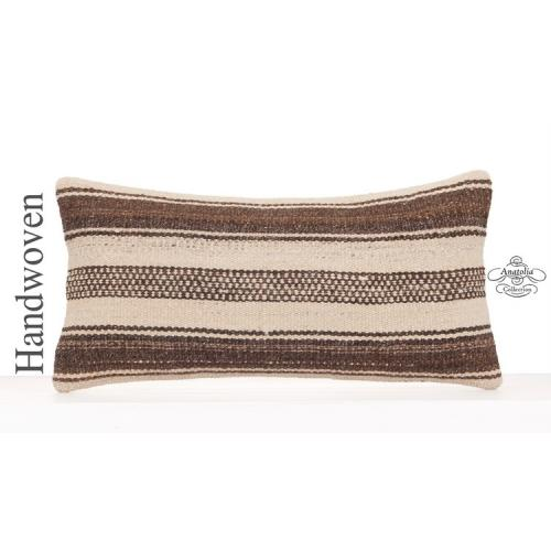 Natural Hand Woven Throw Pillow 12x24 White Striped Kilim Cushion Cover