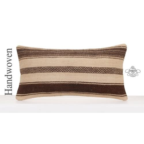 Natural Kilim Rug Throw Pillow Anatolian Striped Lumbar Cushion Cover