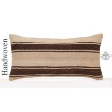Striped Natural Lumbar Kilim Throw Pillow Organic White Rug Cushion