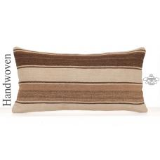 Striped Natural Kilim Throw Pillow 12x24 Turkish Lumbar Sofa Pillowcase
