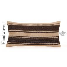 "Vintage Natural Kilim Throw Pillow 12x24"" Striped Lumbar Cushion Cover"