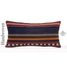 "Ethnic Striped Turkish Kilim Throw Lumbar Cushion 12x24"" Retro Pillow"