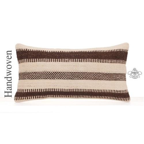 """White Cottage Interior Decor Pillow Throw 12x24"""" Lumbar Kilim Cushion"""