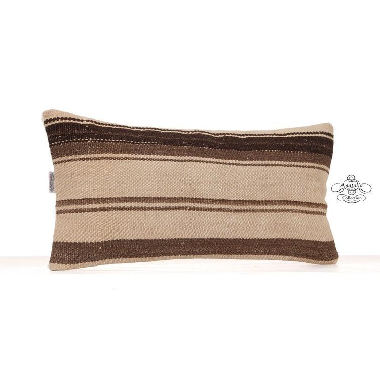 Antique Lumbar Kilim Pillow Handmade 12x24 Quot Natural