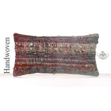 "Bohemian Decor Kilim Pillowcase 12x24"" Cozy Style Lumbar Cushion Cover"