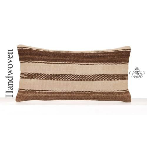 Contemporary White Kilim Pillowcase Striped 12x24 Modern Lumbar Pillow