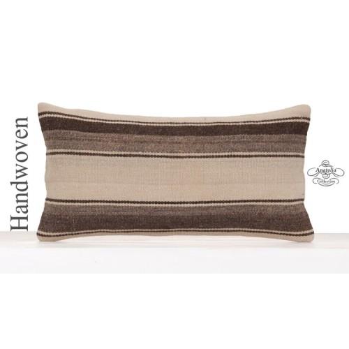 Cottage Chic Lumbar Pillow Natural Handmade Decorative Kilim Cushion