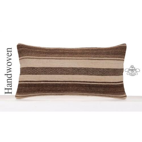 Decorative Kilim Pillow 12x24 Natural Cushion Cover Striped Pillowcase