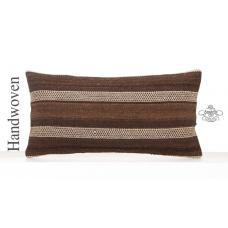 Natural White Striped Lumbar Pillowcase 12x24 Brown Kilim Throw Pillow