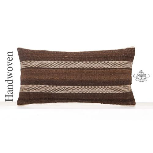 Natural White Striped Lumbar Pillowcase 12x24 Brown Kilim Throw Pillow