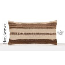 Contemporary Kilim Cushion Cover Natural Turkish Lumbar Throw Pillow