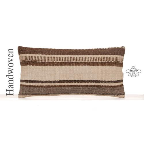 Cottage Decor Accent Lumbar Pillow 12x24 Natural Turkish Kilim Cushion
