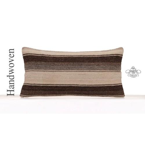 "Natural Black & White Striped Pillow 12x24"" Contemporary Kilim Cushion"