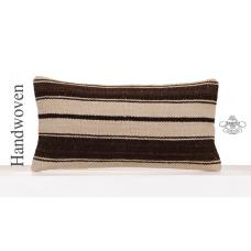 White Modern Striped Pillow Decorative Turkish Lumbar Kilim Pillowcase