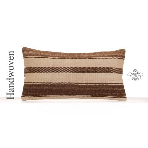 "Contemporary White Kilim Cushion Striped 12x24"" Modern Lumbar Pillow"