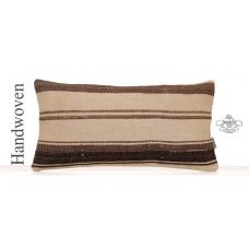 Ethnic Striped Lumbar Kilim Rug Pillow Eclectic Living Room Sofa Throw