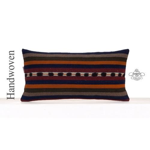 Striped Retro Kilim Cushion Cover 12x24 Lumbar Sofa Couch Throw Pillow