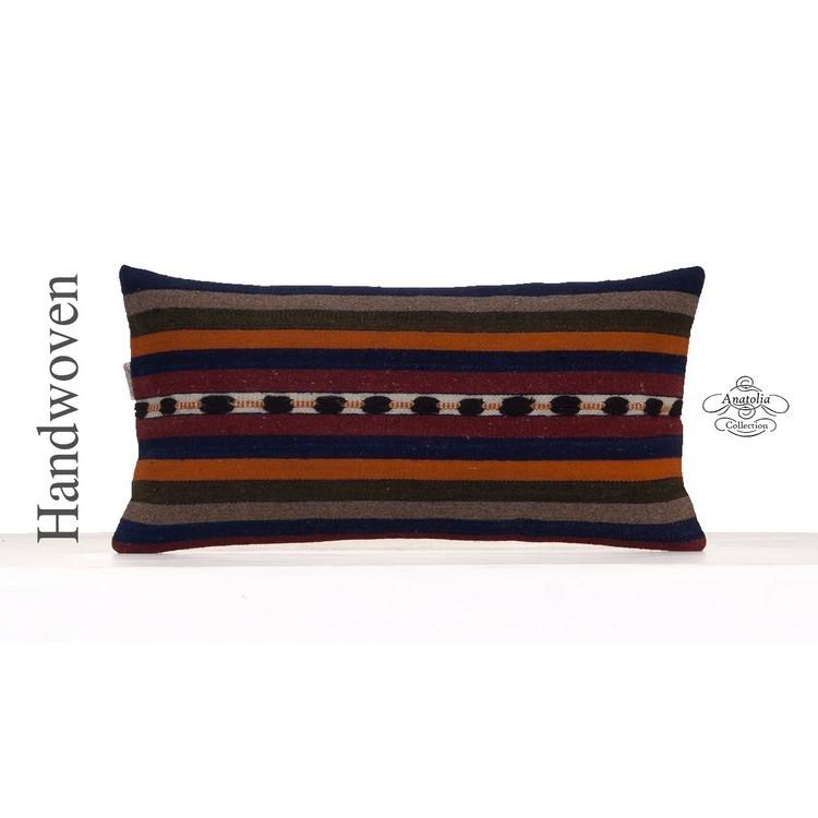 Striped Retro Kilim Cushion Cover 12x24 Lumbar Sofa Couch