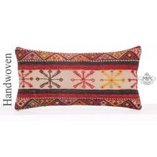 "Eclectic Designer Throw Pillow 12x24"" Fine Embroidered Lumbar Cushion"