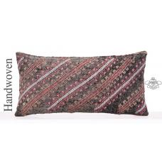"Vintage Embroidered Kilim Pillow 12x24"" Black Lumbar Turkish Cushion"