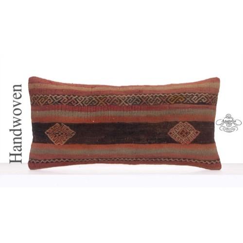 "Antique Kilim Pillow 12x24"" Embroidered Vintage Lumbar Rug Cushion"