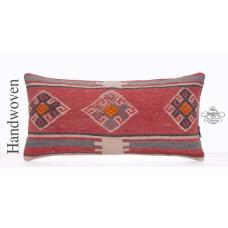 Designer Pillow Embroidered Anatolian Kilim Rug Lumbar Decor Cushion