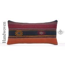 Ethnic Kilim Cushion Cover Stripe Lumbar Rug Pillow Vintage Sofa Throw
