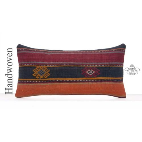 Ethnic Kilim Cushion Cover Stripe Lumbar Rug Pillow Vintage Sofa Throw