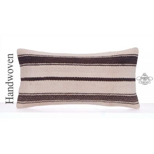 "Modern Interior Decor Pillow Cover 12x24"" Striped White Rug Cushion"