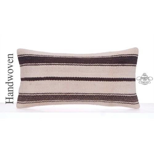 """Modern Interior Decor Pillow Cover 12x24"""" Striped White Rug Cushion"""