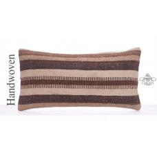 Natural Striped Wool Pillow Cover 12x24 Retro Lumbar Kilim Rug Cushion